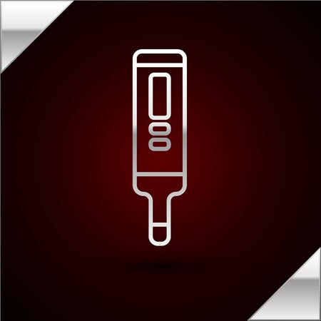 Silver line Medical digital thermometer for medical examination icon isolated on dark red background. Vector Illustration
