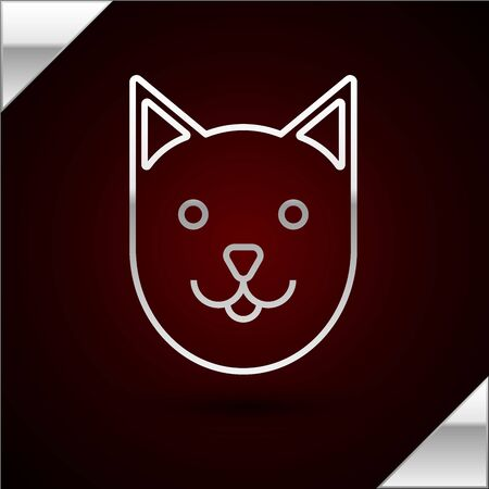 Silver line Cat icon isolated on dark red background. Vector Illustration Standard-Bild - 133398646