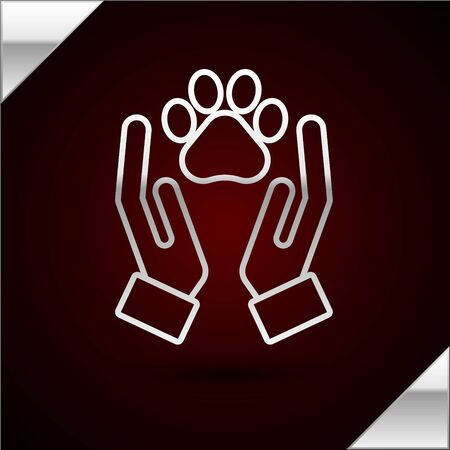 Silver line Hands with animals footprint icon isolated on dark red background. Pet paw in heart. Love to the animals. Vector Illustration Standard-Bild - 133398681