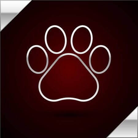 Silver line Paw print icon isolated on dark red background. Dog or cat paw print. Animal track. Vector Illustration Standard-Bild - 133398718