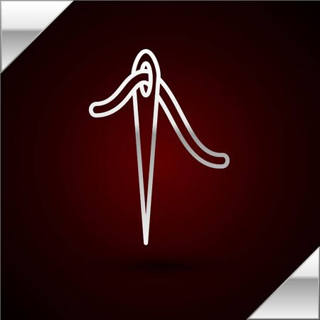 Silver line Needle for sewing with thread icon isolated on dark red background. Tailor symbol. Textile sew up craft sign. Embroidery tool. Vector Illustration