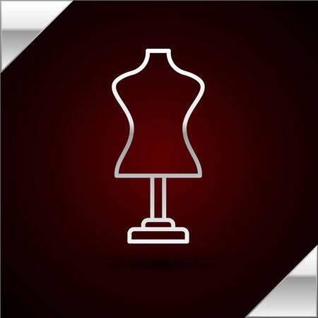 Silver line Mannequin icon isolated on dark red background. Tailor dummy. Vector Illustration