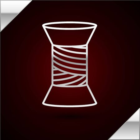 Silver line Sewing thread on spool icon isolated on dark red background. Yarn spool. Thread bobbin. Vector Illustration