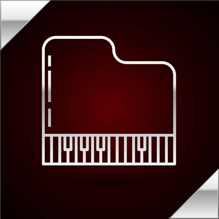 Silver line Grand piano icon isolated on dark red background. Musical instrument. Vector Illustration