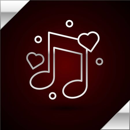 Silver line Music note, tone with hearts icon isolated on dark red background. Vector Illustration