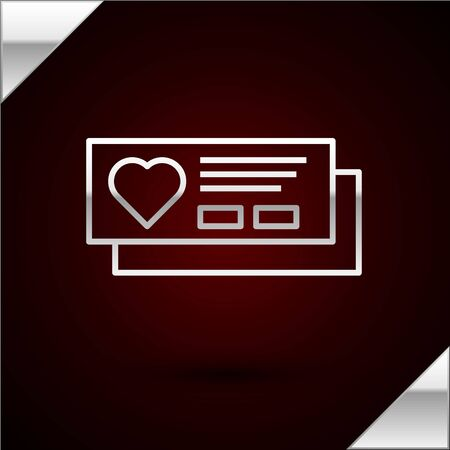 Silver line Ticket with heart icon isolated on dark red background. Boarding pass with heart. Vector Illustration