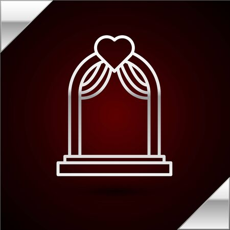 Silver line Wedding arch icon isolated on dark red background. Wedding decoration. Vector Illustration