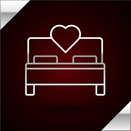 Silver line Bedroom icon isolated on dark red background. Wedding, love, marriage symbol. Bedroom creative icon from honeymoon collection. Vector Illustration Ilustração