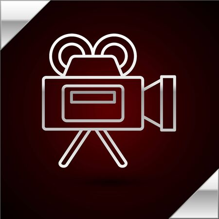 Silver line Cinema camera icon isolated on dark red background. Video camera. Movie sign. Film projector. Vector Illustration Illustration