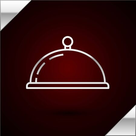 Silver line Covered with a tray of food icon isolated on dark red background. Tray and lid sign. Restaurant cloche with lid. kitchenware symbol. Vector Illustration