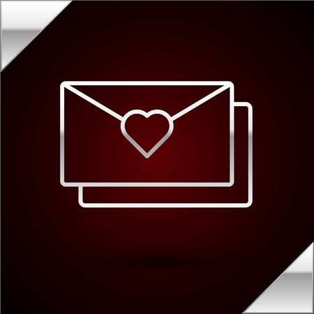 Silver line Envelope with Valentine heart icon isolated on dark red background. Message love. Letter love and romance. Vector Illustration Illusztráció