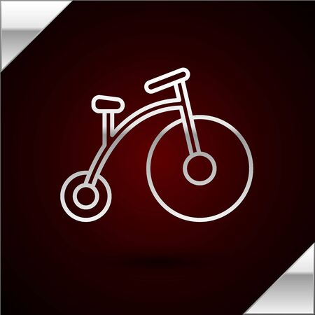 Silver line Vintage bicycle with one big wheel and one small icon isolated on dark red background. Bike public transportation sign. Vector Illustration