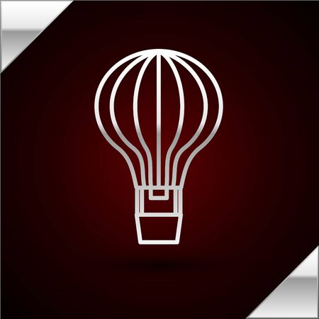 Silver line Hot air balloon icon isolated on dark red background. Air transport for travel. Vector Illustration Standard-Bild - 133403301
