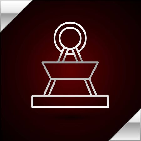 Silver line Attraction carousel icon isolated on dark red background. Amusement park. Childrens entertainment playground, recreation park. Vector Illustration
