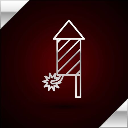 Silver line Firework rocket icon isolated on dark red background. Concept of fun party. Explosive pyrotechnic symbol. Vector Illustration