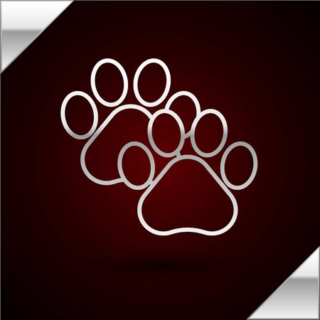 Silver line Paw print icon isolated on dark red background. Dog or cat paw print. Animal track. Vector Illustration Illustration