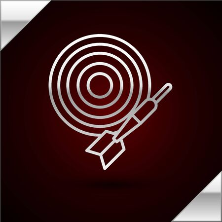 Silver line Classic dart board and arrow icon isolated on dark red background. Dartboard sign. Game concept. Vector Illustration