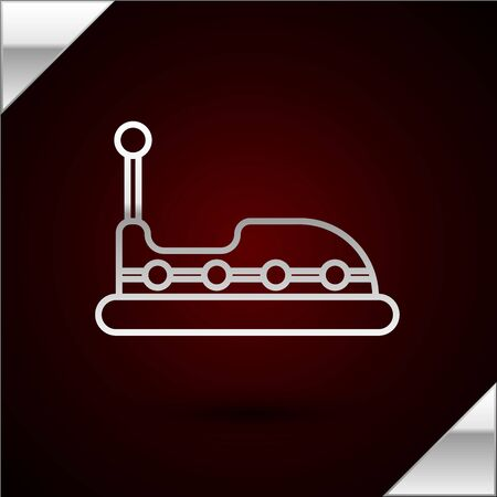 Silver line Bumper car icon isolated on dark red background. Amusement park. Childrens entertainment playground, recreation park. Vector Illustration