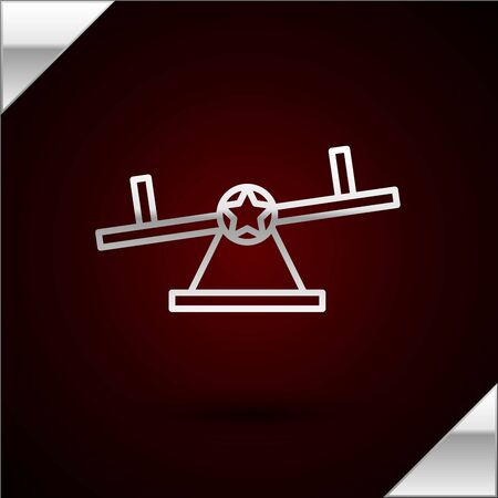 Silver line Seesaw icon isolated on dark red background. Teeter equal board. Playground symbol. Vector Illustration