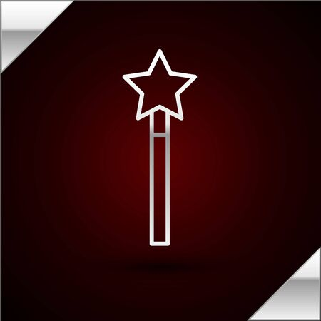 Silver line Magic wand icon isolated on dark red background. Star shape magic accessory. Magical power. Vector Illustration
