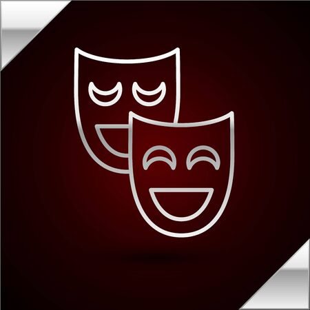 Silver line Comedy theatrical masks icon isolated on dark red background. Vector Illustration 일러스트