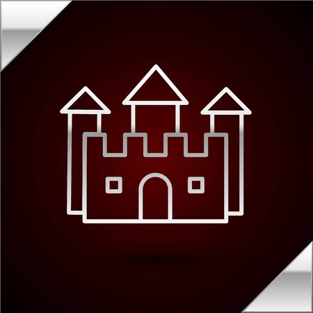 Silver line Castle icon isolated on dark red background. Vector Illustration