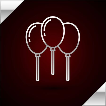 Silver line Balloons with ribbon icon isolated on dark red background. Vector Illustration