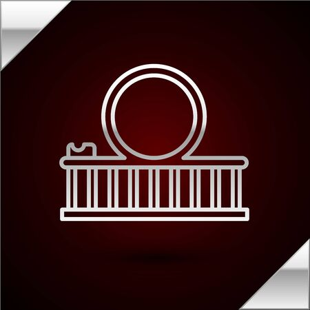 Silver line Roller coaster icon isolated on dark red background. Amusement park. Childrens entertainment playground, recreation park. Vector Illustration