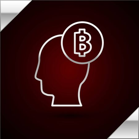Silver line Bitcoin think icon isolated on dark red background. Cryptocurrency head. Blockchain technology, digital money market, cryptocoin wallet. Vector Illustration Ilustracja
