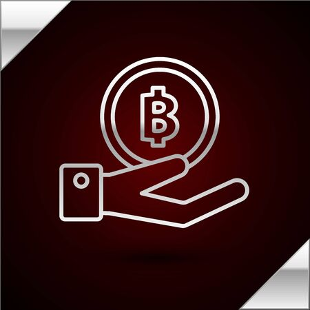 Silver line Hand holding Bitcoin icon isolated on dark red background. Blockchain technology, digital money market, cryptocoin wallet. Vector Illustration
