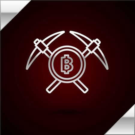 Silver line Crossed pickaxe icon isolated on dark red background. Blockchain technology, cryptocurrency mining, bitcoin, altcoins, digital money market. Vector Illustration