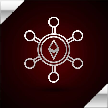 Silver line Blockchain technology Ethereum ETH icon isolated on dark red background. Abstract geometric block chain network technology business. Vector Illustration