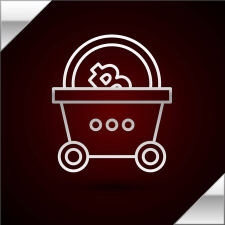 Silver line Shopping basket with bitcoin icon isolated on dark red background. Blockchain technology, cryptocurrency mining, digital money market. Vector Illustration Stock Illustratie