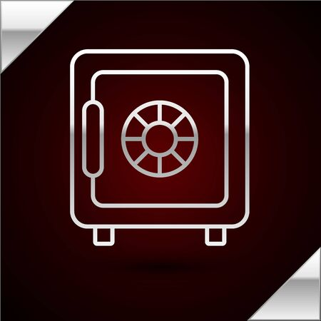 Silver line Safe icon isolated on dark red background. The door safe a bank vault with a combination lock. Reliable Data Protection. Vector Illustration Çizim