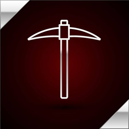 Silver line Pickaxe icon isolated on dark red background. Blockchain technology, cryptocurrency mining, bitcoin, digital money market, cryptocoin wallet. Vector Illustration