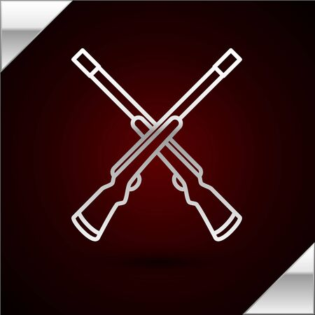 Silver line Two crossed shotguns icon isolated on dark red background. Hunting gun. Vector Illustration Standard-Bild - 133408664