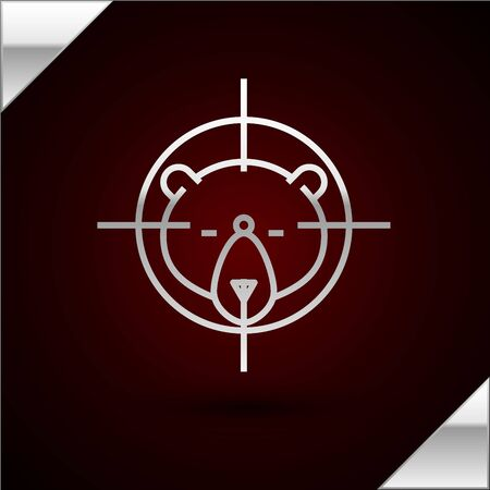 Silver line Hunt on bear with crosshairs icon isolated on dark red background. Hunting club with bear and target. Rifle lens aiming a bear. Vector Illustration