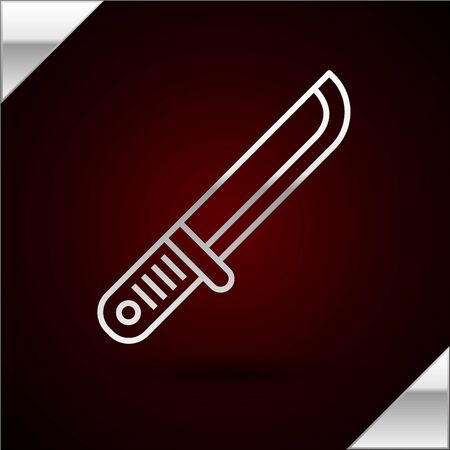 Silver line Hunter knife icon isolated on dark red background. Army knife. Vector Illustration 일러스트
