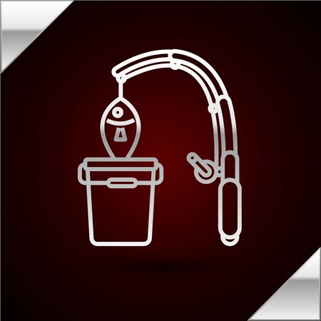 Silver line Fishing rod and fish icon isolated on dark red background. Put fish into a bucket. Fishing equipment and fish farming topics. Vector Illustrationn