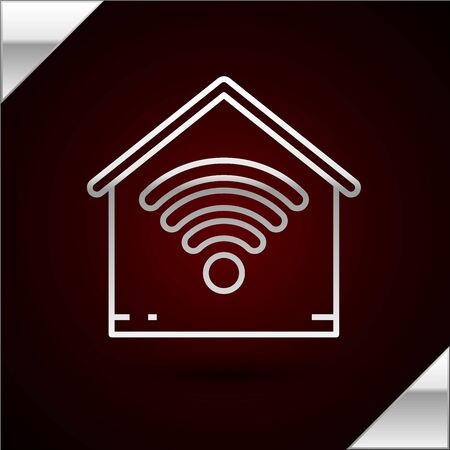 Silver line Smart home with wifi icon isolated on dark red background. Remote control. Vector Illustration