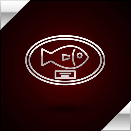 Silver line Fish trophy hanging on the board icon isolated on dark red background. Fishing trophy on wall. Vector Illustration