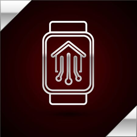 Silver line Smart home with smart watch icon isolated on dark red background. Remote control. Vector Illustration 일러스트
