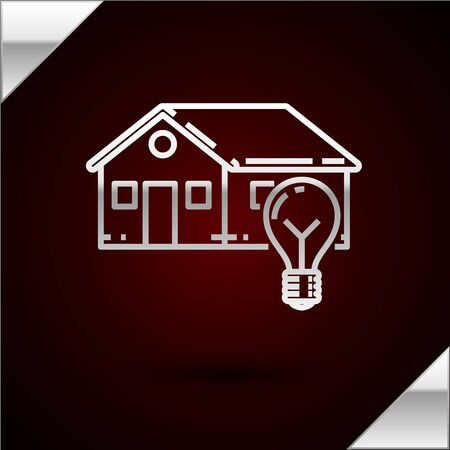 Silver line Smart house and light bulb icon isolated on dark red background. Vector Illustration