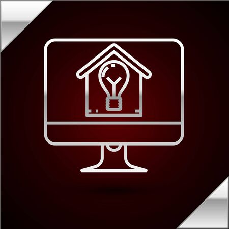 Silver line Computer monitor with smart house and light bulb icon isolated on dark red background. Vector Illustration 일러스트
