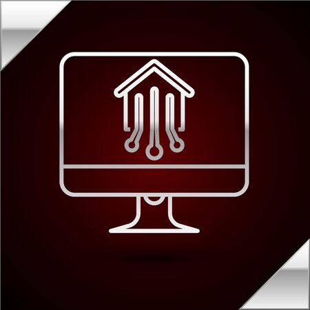 Silver line Computer monitor with smart home icon isolated on dark red background. Remote control. Vector Illustration