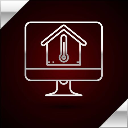Silver line Computer monitor with house temperature icon isolated on dark red background. Thermometer icon. Vector Illustration