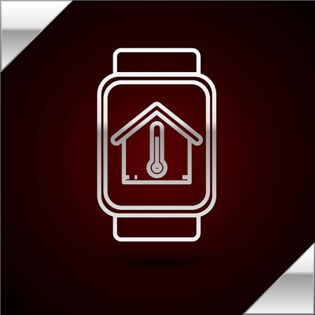 Silver line Smart watch with house temperature icon isolated on dark red background. Thermometer icon. Vector Illustration
