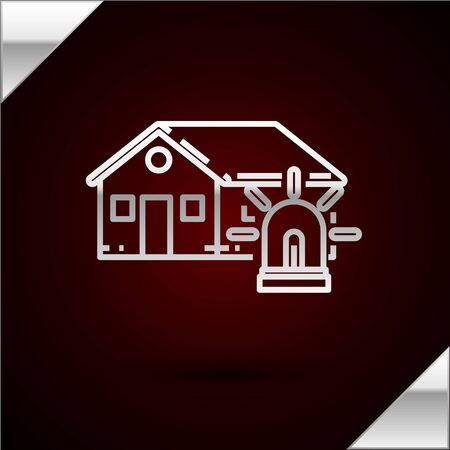 Silver line Smart house and alarm icon isolated on dark red background. Security system of smart home. Vector Illustration