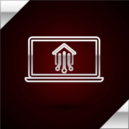 Silver line Laptop with smart home icon isolated on dark red background. Remote control. Vector Illustration
