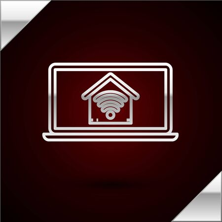 Silver line Laptop with smart home with wifi icon isolated on dark red background. Remote control. Vector Illustration
